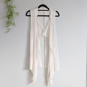 Maurice's Cream Boho Hippie Vest with Pockets